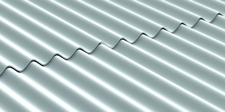 Asbestos cement roofing sheets background. 3d illustration