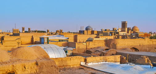 Panorama of old Yazd from the roof, Iran