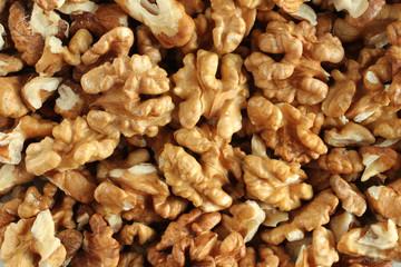 Big shelled walnuts background