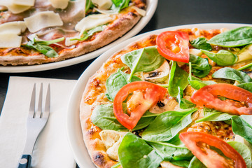 Neapolitan pizza made with fresh and organic ingredients