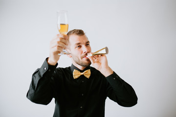 Man at party with champagne glass