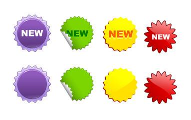vector set of multi-colored circular sale labels
