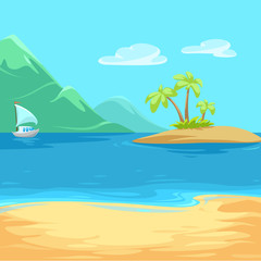 vector illustration of Paradise island bounty cartoon with trees and grass and a yacht with a white sail