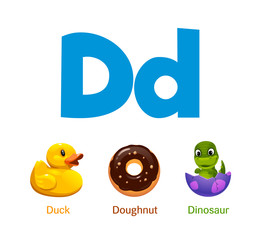 Cute children ABC animal alphabet flashcard words with the letter D for kids learning English vocabulary.