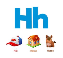 Cute children ABC animal alphabet flashcard words with the letter H for kids learning English vocabulary.
