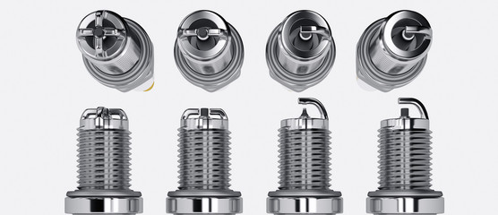 Spare parts spark plugs on white background for car and motorcycle. New auto parts spark plug. 3D rendering