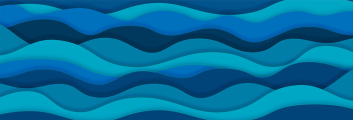 Layered paper art waves background. Sea water concept. 3D origami style design. Vector illustration Fototapete
