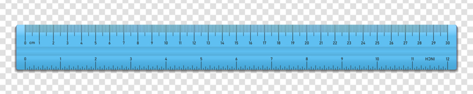 Realistic plastic blue tape ruler isolated on transparent background. Double sided measurement in cm and inches. Vector illustration