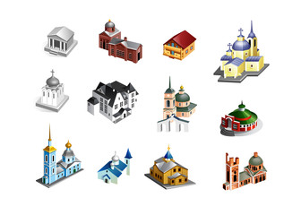 set of vector old country churches. Building icon in isometric