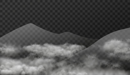 Cloudscape with mountains in mist isolated on transparent background. Vector texture illustration of realistic landscape with smoky clouds effect