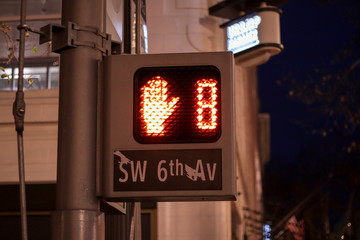Pedestrian signal that show that you have 8 seconds left to cross the street