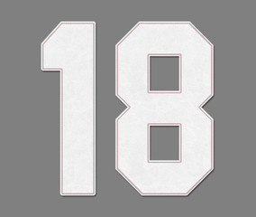 Classic Vintage Baseball Sport Jersey Number 18 in baseball ball style look, design on 50% gray background / logos and shirt