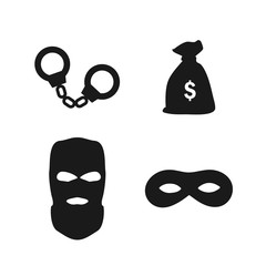 Robber set. Handcuffs, money bag, robber and zorro mask. Isolated on white background.