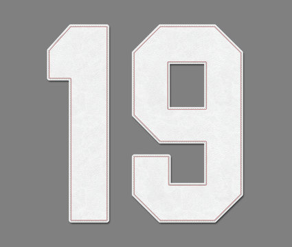 Classic Vintage Baseball Sport Jersey Number 19 in baseball ball style look, design on 50% gray background / logos and shirt
