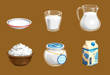 vector set of cute milk in a glass and a jug as well as cottage cheese and sour cream in different dishes