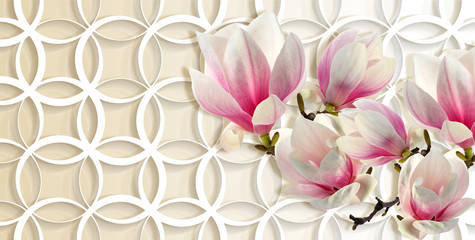 3d wallpaper, magnolia on rings background. Celebration 3d background. Flower theme - this is a trend in design interior.