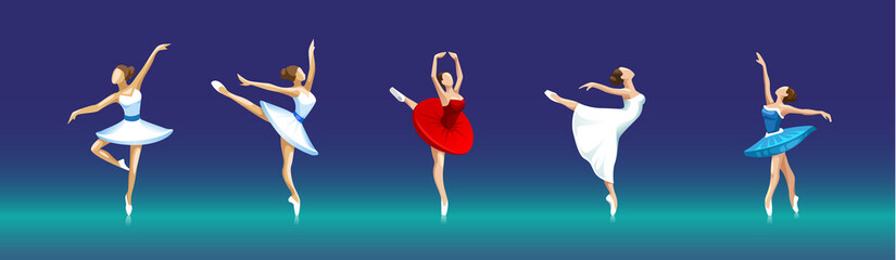 vector set of ballerinas in different poses on dark background