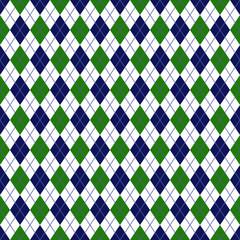 Green and Navy Argyle Seamless Pattern - Green, white, and navy blue argyle design