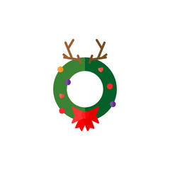 Christmas wreath with antler in flat style. Web illustration.