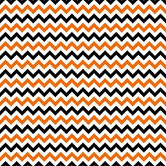 Orange and Black Chevron Seamless Pattern - Orange, white, and black zig zag chevron design