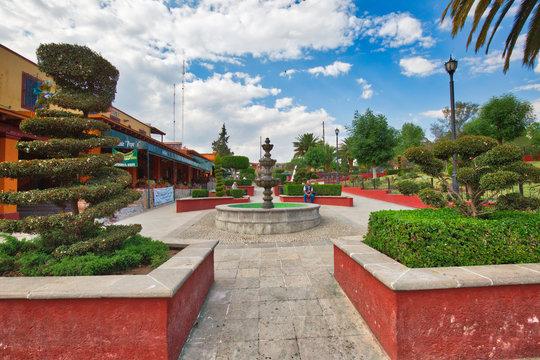 Mexico, Tepotzotlan-20 April, 2018: Tepotzotlan old city streets and restaurants near the central plaza
