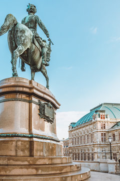 Equestrian statue in front of Vienna State Opera