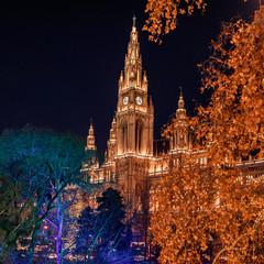 Vienna City Hall festively illuminated