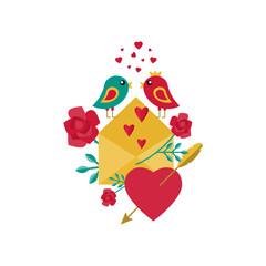 Card for Valentine's Day. Birds, flowers, love letter and hearts. Vector illustration in flat style.