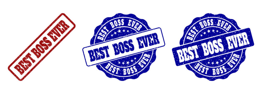 BEST BOSS EVER grunge stamp seals in red and blue colors. Vector BEST BOSS EVER labels with distress surface. Graphic elements are rounded rectangles, rosettes, circles and text labels.