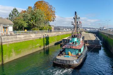 Large Ship leaving the locks Din Seattle