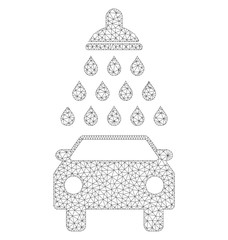 Polygonal vector car shower icon on a white background. Polygonal carcass dark gray car shower image in lowpoly style with combined triangles, dots and linear items.