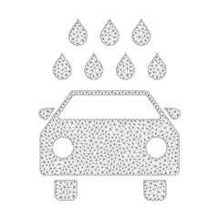 Polygonal vector car shower icon on a white background. Mesh carcass grey car shower image in low poly style with organized triangles, nodes and linear items.