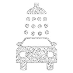 Mesh vector car wash icon on a white background. Polygonal carcass grey car wash image in low poly style with organized triangles, dots and linear items.