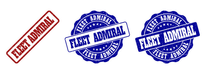 FLEET ADMIRAL grunge stamp seals in red and blue colors. Vector FLEET ADMIRAL overlays with distress style. Graphic elements are rounded rectangles, rosettes, circles and text titles.