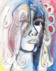 Abstract watercolor portrait of woman