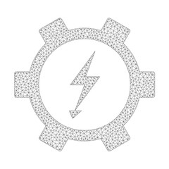 Mesh vector electric energy gear wheel icon on a white background. Mesh carcass grey electric energy gear wheel image in low poly style with structured triangles, dots and linear items.