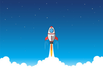 Rocket is soar to the sky. Startup concept. Vector illustration.
