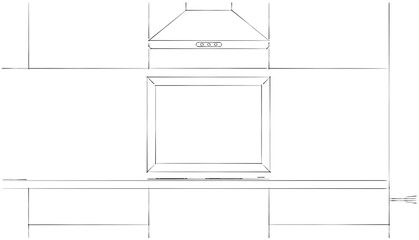 Frame in a kitchen flat mock-up design. Black and white sketch drawing.