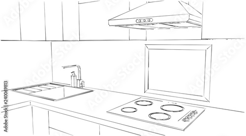 Frame In A Kitchen Mock Up Design Black And White Outline