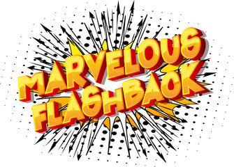 Marvelous Flashback - Vector illustrated comic book style phrase on abstract background.
