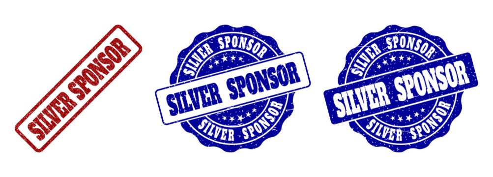 SILVER SPONSOR scratched stamp seals in red and blue colors. Vector SILVER SPONSOR overlays with grunge surface. Graphic elements are rounded rectangles, rosettes, circles and text tags.