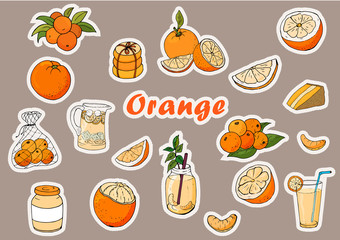 Stickers of oranges, cocktails, baking, orange cheesecake in a set