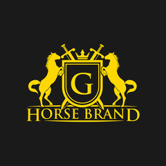 Initial Letter G logo. Horse Brand Logo design vector. Retro golden crest with shield and horses. Heraldic logo template. Luxury design concept. Can be used as logo, icon, emblem or banner.