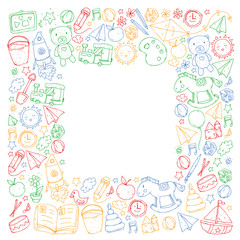 Kindergarten Vector pattern with toys and items for education.