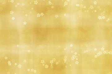 Wall Mural - 桜のイラスト(金色のぼけた背景)