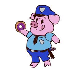 Police pig eating donut