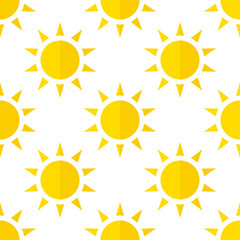 Vector sun icon. Flat style with shadow. seamless pattern, background.