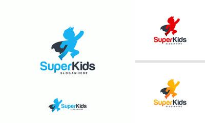 Kids Playing logo designs concept vector, Super Kids logo template, Superhero Children icon template