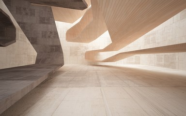 Abstract interior of  brown concrete and wood. Architectural background. 3D illustration and rendering