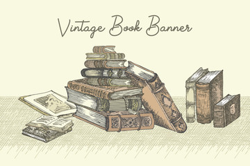 Banner with hand drawing sketch books. Concept vintage design for fair or festival flyer, paper, banner, school library retro poster, bookshop advertising in engraving style